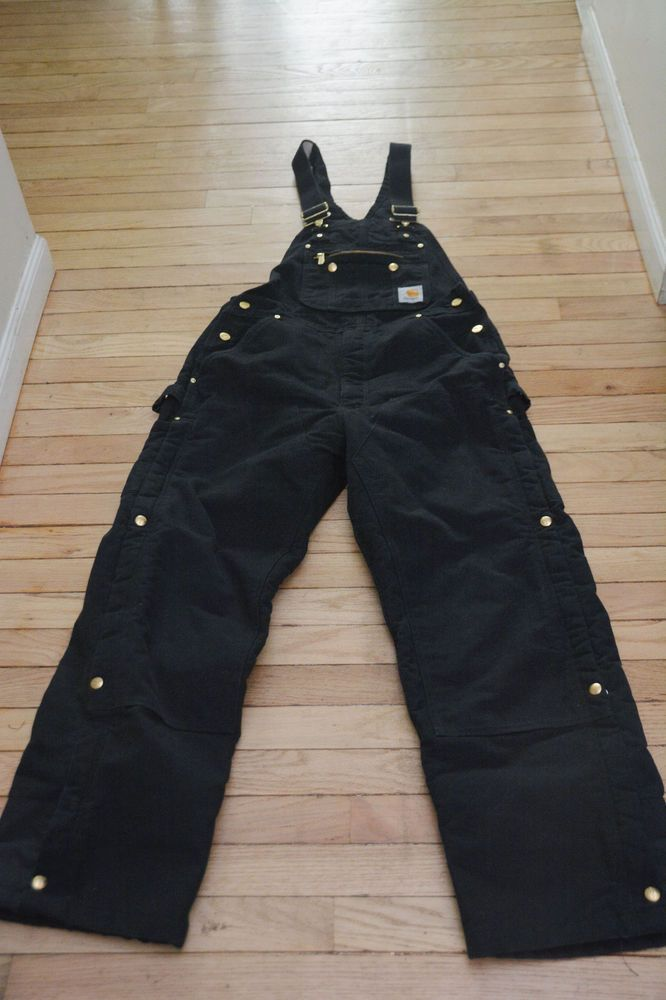 Mens Carhartt Insulated Bib Overalls R41 Black   34 X 30  100% Cotton #Carhartt #Overalls