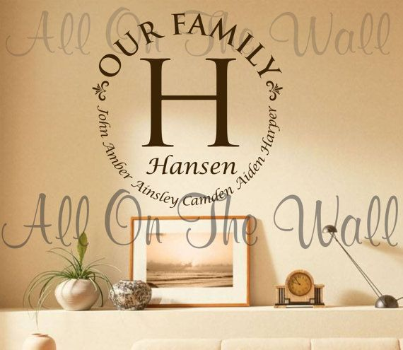 Vinyl Wall Decal Family Last Name Decals Custom Vinyl Lettering Personalized  Home Decor Home Decals Family Decals Home Decor Wall Art