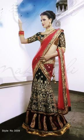 DESIGNER LEHENGA STYLE SAREE IN HALF GEORGETTE  HALF NET WITH FULL RESHAM, THREAD ZARI EMBROIDERY WORK  GOLDEN LACE BORDER