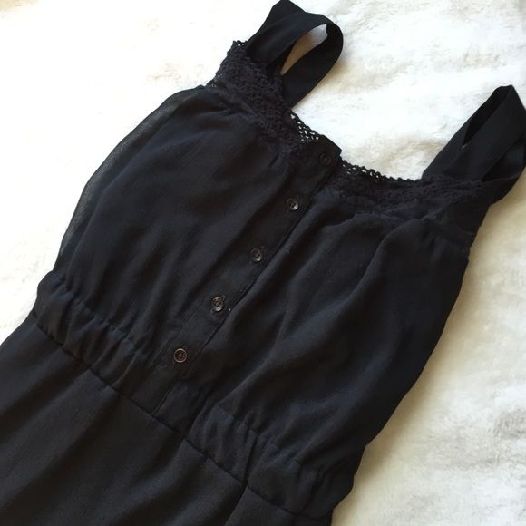 Black Chiffon Dress Like new- only worn once. Black chiffon dress with a black slip underneath, lace detailing around the neck and shoulders, elastic sinch under the bust.                                         ✅MAKE OFFERS NO LAWBALLING (consider PM 20% fee) NO TRADES OR PP FAST SHIPPING I MAKE BUNDLES  &  FREE HOME ⭐️⭐️⭐️⭐️⭐️ TOP RATED SELLER Mudd Dresses