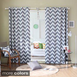 Lights Out Chevron Print Room Darkening Grommet Top 96 Inch Curtain Panel  Pair