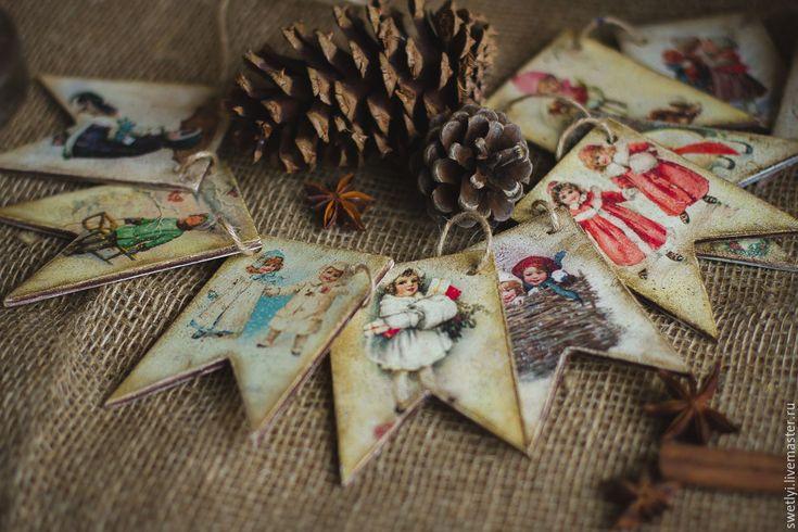 Купить Флажки новогодние в винтажном стиле - комбинированный, флажки, флажки винтаж, флажки ретро