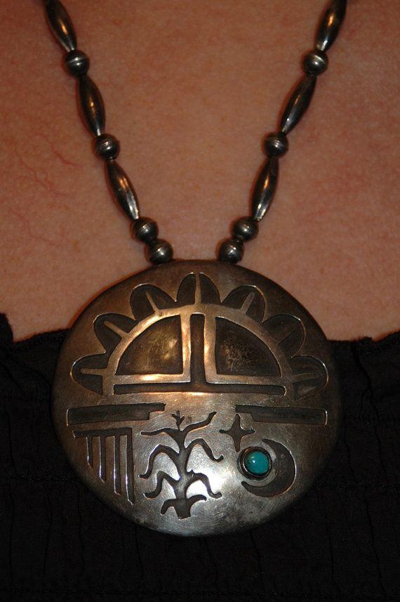 Huge Old Hopi Squash blossom sterling Pendant Necklace - Hallmarked