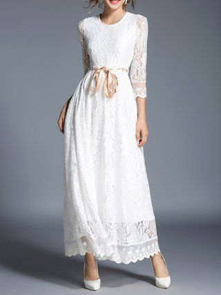 White Guipure Lace Bow A-line Maxi Party Dress