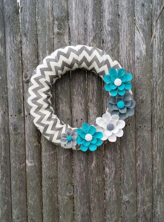 Burlap Wreath, Spring Wreath, Summer Wreath,Chevron Wreath, Everyday Wreath with Tiffany Blue Burlap Flowers on Etsy, $37.00