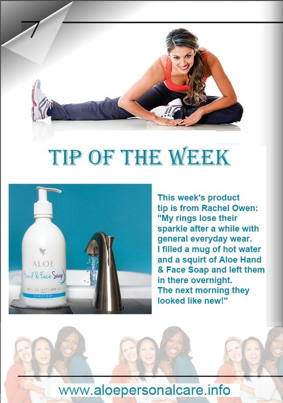 """This week's product tip is from Rachel Owen: """"My rings lose their sparkle after a while with general everyday wear. I filled a mug of hot water and a squirt of Aloe Hand & Face Soap and left them in there overnight. The next morning they looked like new!"""" www.aloepersonalcare.info #Aloevera #handsoap #facesoap"""