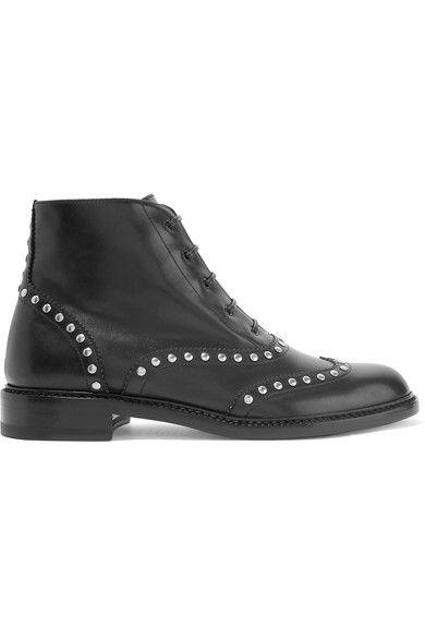 Saint Laurent - Lolita Studded Leather Ankle Boots - Black - IT35.5