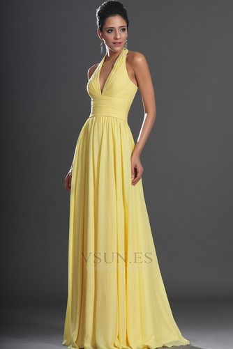 Vestido de noche primavera Espalda medio descubierto sexy Amarillo claro