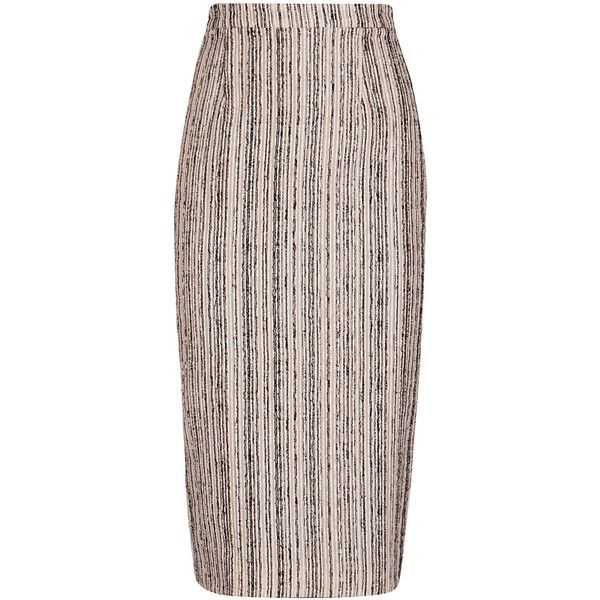 Roland Mouret Norley Blush Stretch Jersey Pencil Skirt - Size 10 (1,055 CAD) ❤ liked on Polyvore featuring skirts, panel pencil skirt, striped pencil skirt, zipper skirt, pencil skirts and stripe pencil skirt