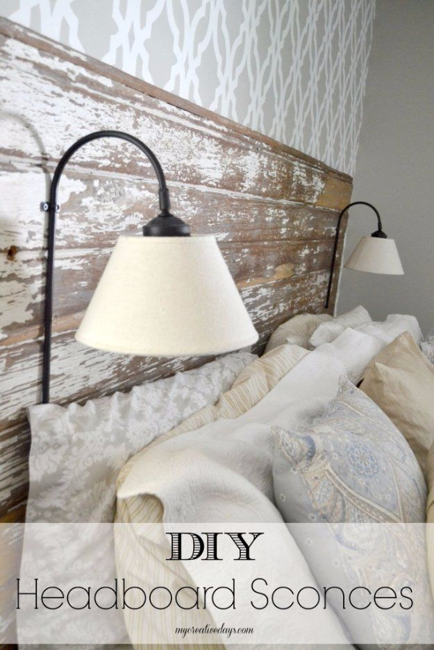 Diy headboards sconces and pallets on pinterest for Easy do it yourself headboard ideas