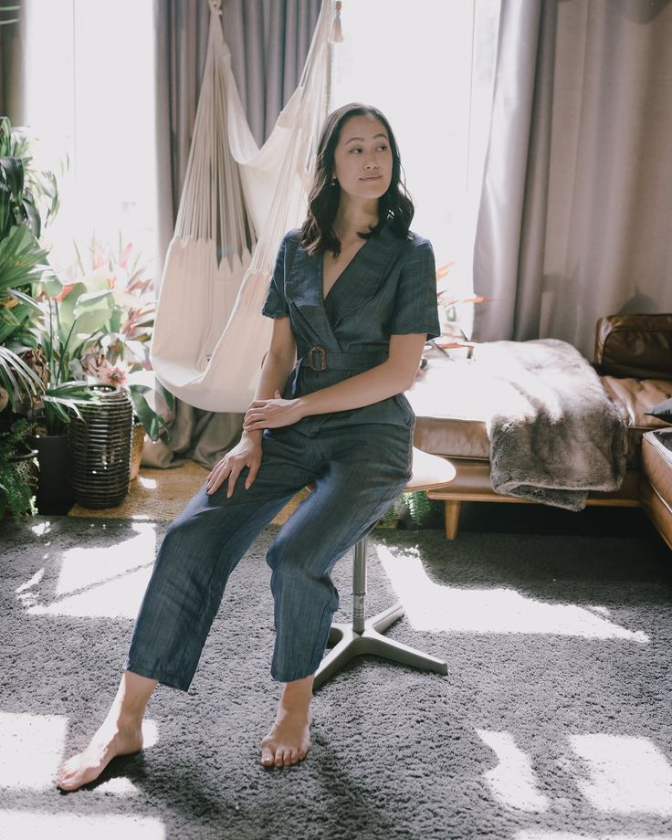 Gorgeous sustainable denim pantsuit made from the best ecofriendly, cruelty free…