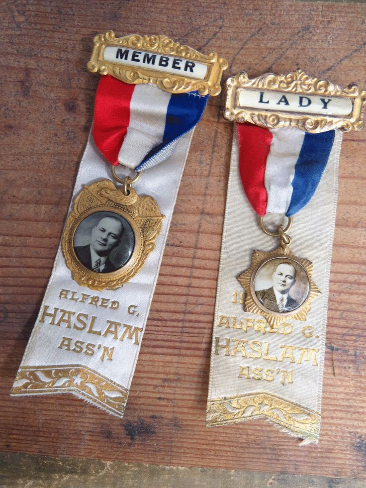 2 Antique Ribbon Badges, Member & Lady, 1920s Haslam Ass'n District Assembly Political Organization, Brooklyn NY by UrbanRenewalDesigns on Etsy