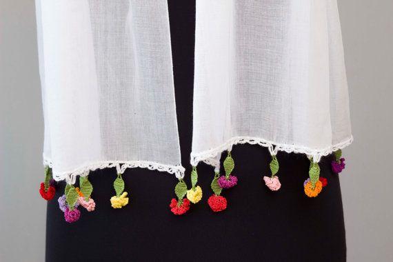 Summer scarf whiteturkish oya scarfhand crocheted by SenasShop