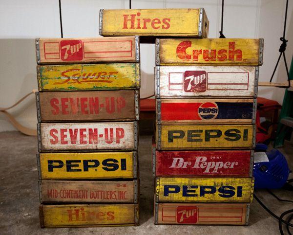 vintage wooden soda crates