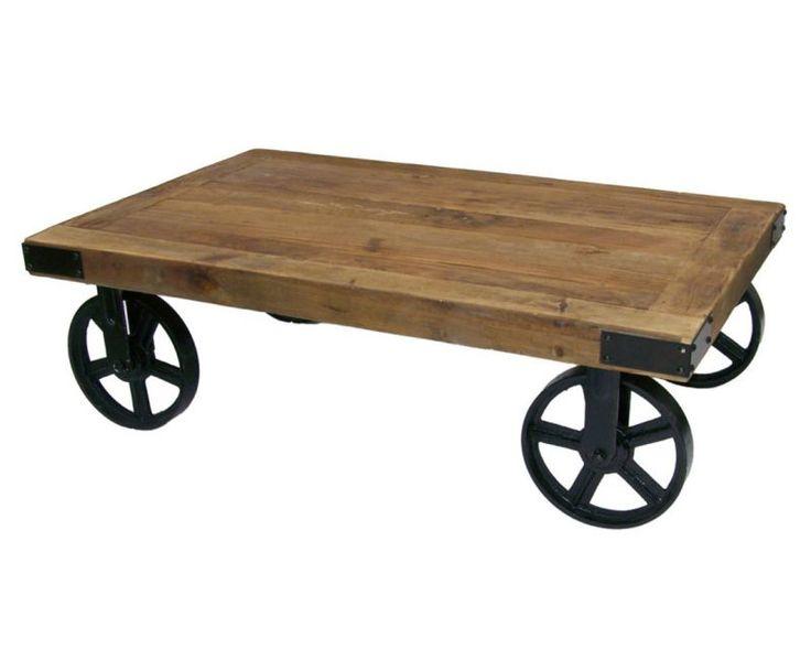 une belle table de salon de style industrielle avec son plateau en bois de rcupration et