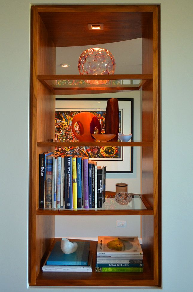 Circular Quay Harbour Apartment - Swan Studio Interior Design | apartment joinery two-way two way bookshelf display shelf