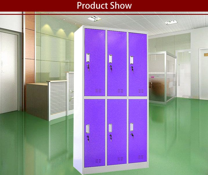 Purple 6 Door Metal Locker ,School Changing Room Locker , Storage Clothes  Cabinets . Dimension