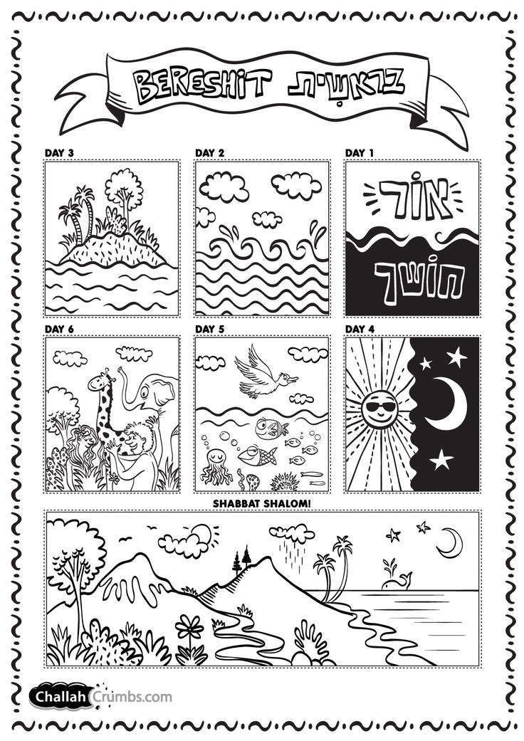 This is an adorable coloring sheet for the week of creation from ChallahCrumbs.com!