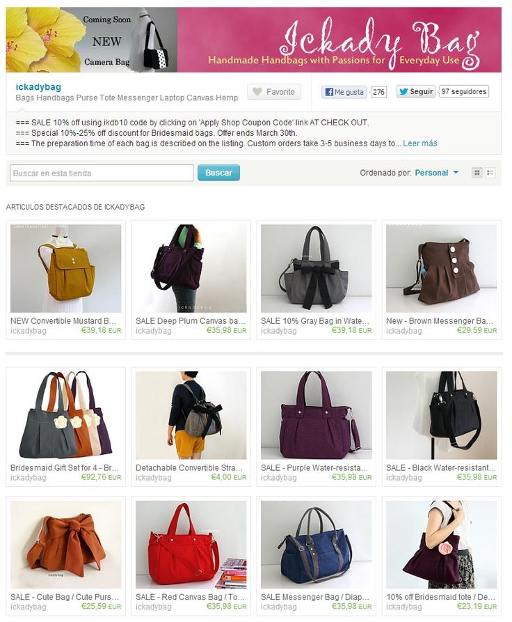 Ejemplo de tienda online de Moda bolsos en Etsy