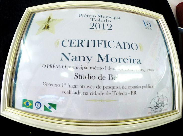 certificado de premiação.