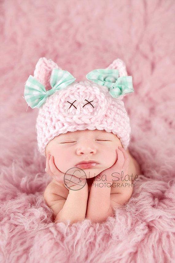 Newborn pig hat .. spring hat .. newborn photo prop .. piggy hat .. pink .. baby girl hat .. animal hat .. NEWBORN SIZE