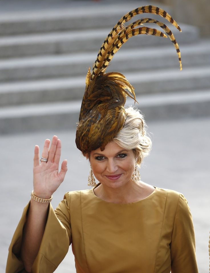 Netherlands' Princess Maxima arrives for the religious wedding service of Luxembourg's Hereditary Grand Duke Guillaume and Countess Stephanie de Lannoy at the Notre-Dame Cathedral in Luxembourg. (Reuters)