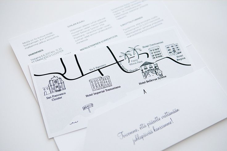 Custom made italy wedding invitations with map by www.makeadesign.fi / sorrento wedding / häät / hääkutsut / MakeaDesign