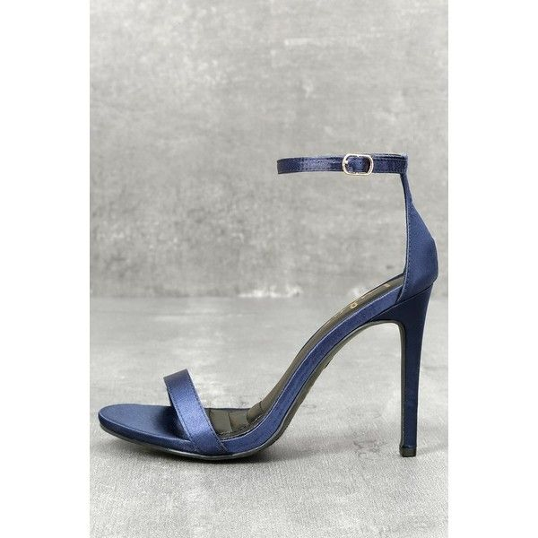 Lulus  Loveliness Navy Blue Satin Ankle Strap Heels ($33) ❤ liked on Polyvore featuring shoes, pumps, blue, ankle strap stilettos, stiletto pumps, high heel shoes, navy blue high heel pumps and stiletto high heel shoes