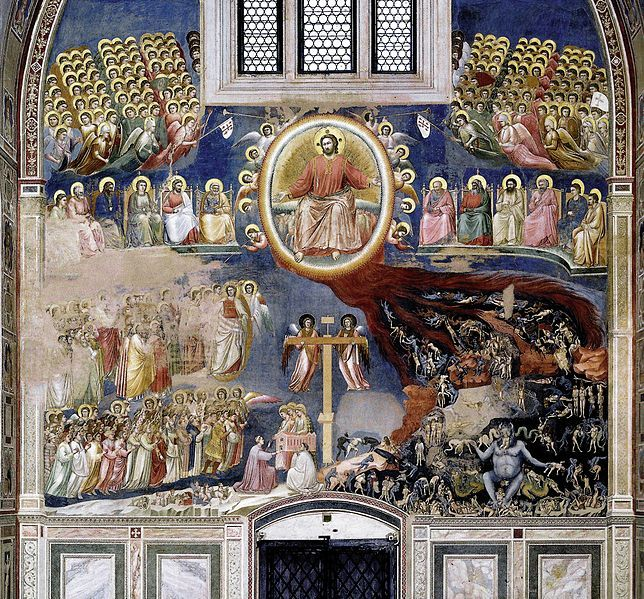 The Last Judgment -- by Giotto, 1306 -- Arena Chapel (Cappella Scrovegni), in Padua, Italy. Christ in Majesty is surrounded by a rainbow mandorla and angels, flanked by the Apostles. The Heavenly Host is above, while the saved and the damned are shown below, rising to Heaven or being dragged to Hell. Enrico Scrovegni is depicted presenting his chapel to the Three Marys.