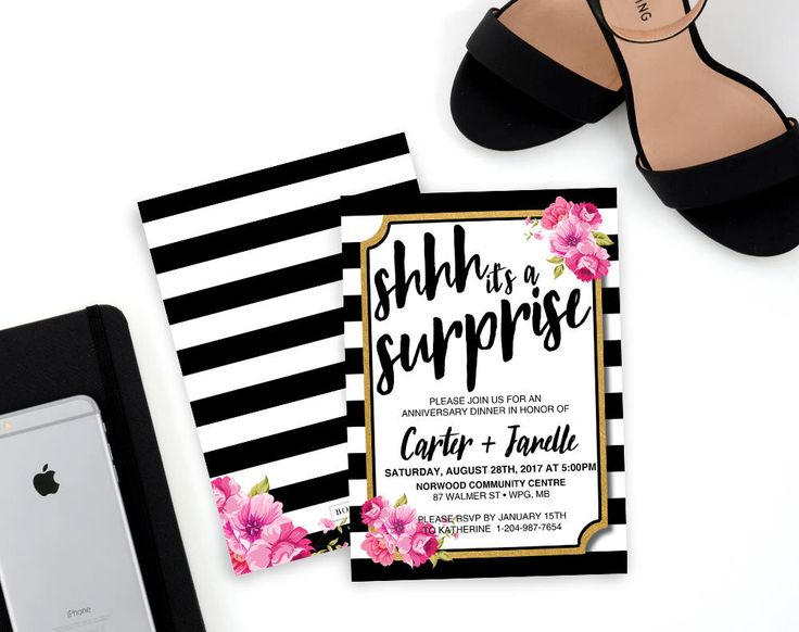 Floral Stripes Surprise Birthday Invitation, floral invitation, Anniversary Invitation, Surprise Anniversary Invitation, black stripes