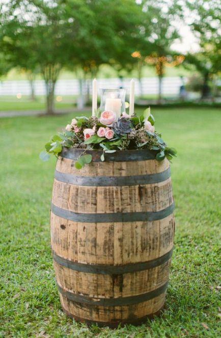 A Few Decorative Blooms On A Wine Barrel Rehearsal