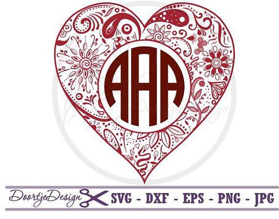 SVG Heart Monogram SVG monogram Heart EPS files Valentines