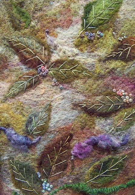 Felted and embroidered leaves, Deebs Fiber Arts