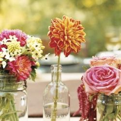 I think these simple centerpieces would bring color to our tables while being a perfect fit for our simple party/country theme. Also super cheap!: Idea, Color, Flowers Arrangements, Country Wedding, Wedding Flowers, Fresh Flowers, Mason Jars, Gardens Parties, Centerpieces