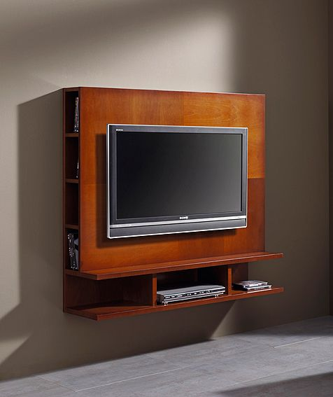 mueble tv panel de pared material madera de cerezo acabado en cerezoalto