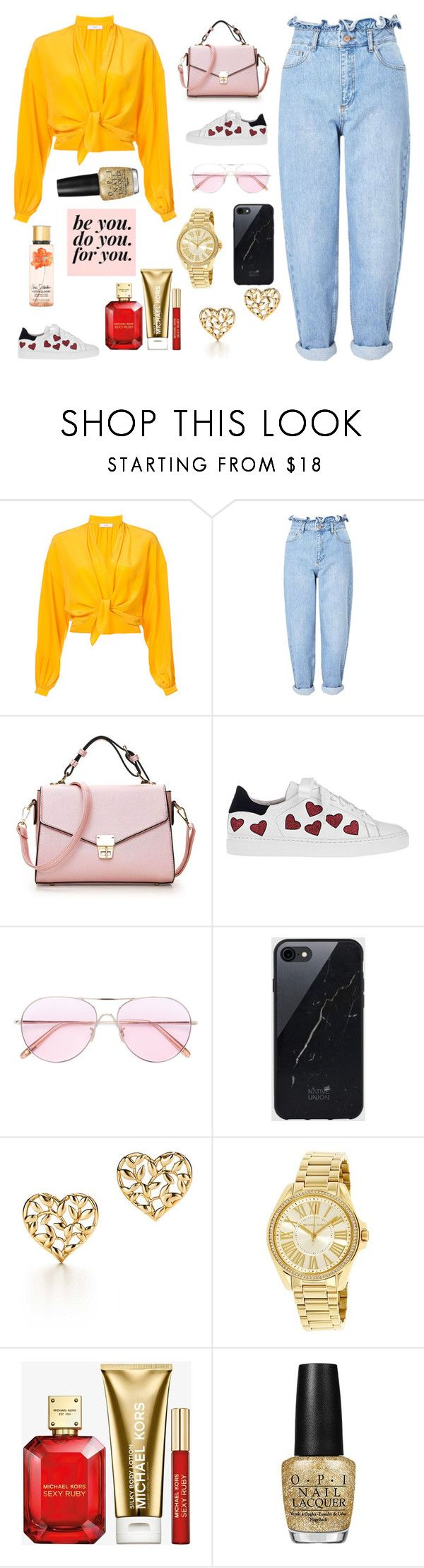 """""""No Pictures"""" by s-reyes-2026 ❤ liked on Polyvore featuring Tome, Miss Selfridge, Steffen Schraut, Oliver Peoples, Sefton, Paloma Picasso, Michael Kors, OPI and Victoria's Secret"""