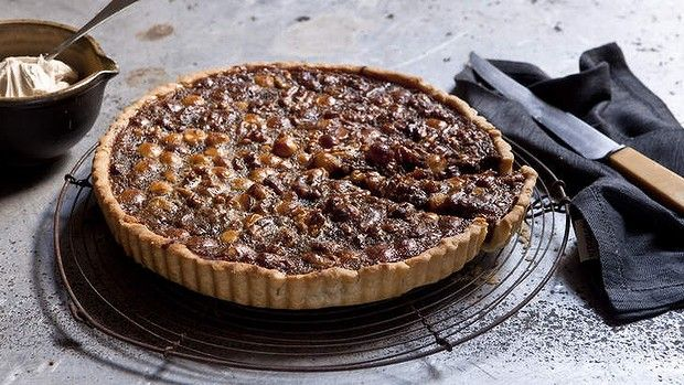 Karen Martini's walnut, macadamia and honey tart. The smell of this baking is enough to lift the spirits, let alone eating it!
