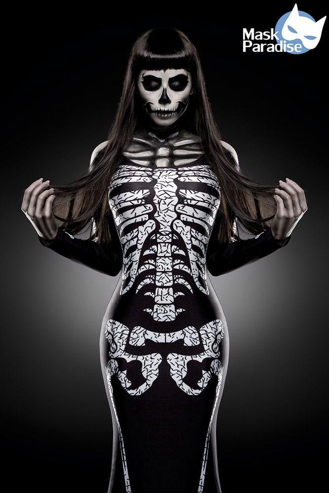 Skeleton Lady Hallowen Damen Kostüm Scary Karneval Fasching Gr XS-M