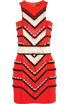 Balmain Embellished crepe mini dress | NET-A-PORTER
