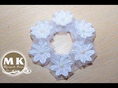 Мастер-класс Канзаши. Сеточка для волос с цветами Канзаши/Flowers kanzashi - YouTube