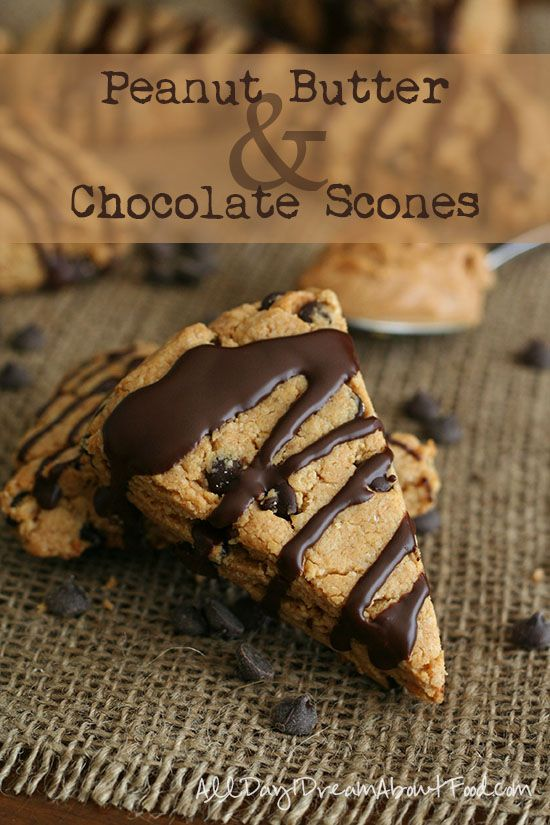 Tender low carb scones full of peanut butter and chocolate chips and drizzled with a peanut butter and chocolate glaze. You don't want to miss this for breakfast! Happy Chocolate & Peanut Butte...