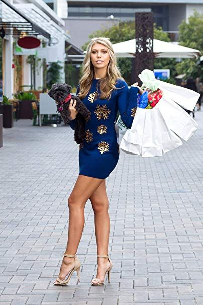 f1160ba874d Amazon.com  Women s Sequined Snowflake Christmas Sweater Dress - Navy and  Gold Cute Snowflake