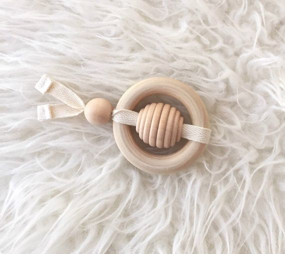 Bee Teether - Baby Toy- Teething Toy - Wood Toy -Baby Gift -Baby Shower Gift…