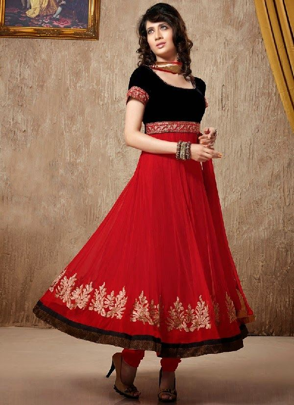New-Indian-Anarkali-Dress-Collection-2014-With-Shimmer-Borders-For-Girls-4.jpg (600×825)