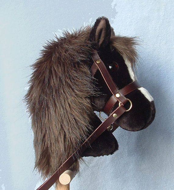 Hobby horse, stick horse, Dark Brown plush. Top quality with hardwood pole, handle and wheels and removable leather bridle with bell.