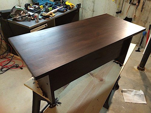 A wood standing desk for my cubicle.