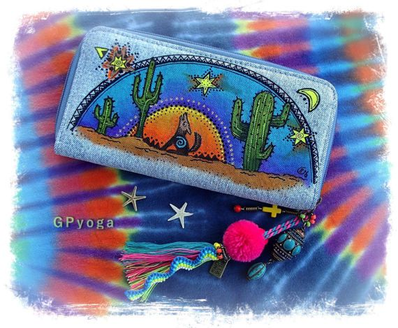 DESERT SPIRIT purse Denim CLUTCH Tribal Cactus by GPyoga on Etsy