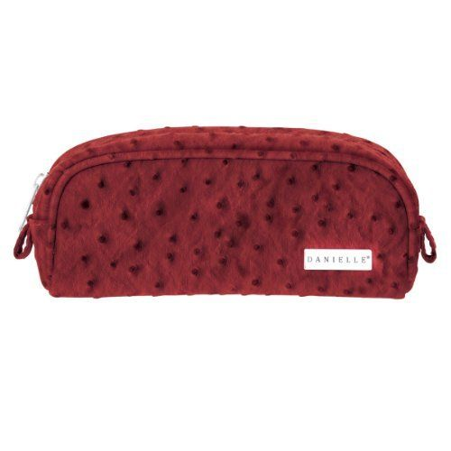 Danielle Ostrich Patterned Cosmetic Bag, Red by Danielle Enterprises. $14.99. Zipper closure. Pretty, practical and made with Danielle's quality. Bag is 8 inch long x 3.5 inch tall x 3 inch deep. Cosmetic bag with textured ostrich pattern. Dark red bag with coordinating animal print lining. Ostrich patterned cosmetic bags are available in lots of fashion colors you're sure to find one you love plus another for your sister, best friend, coworker, and more. Bags...