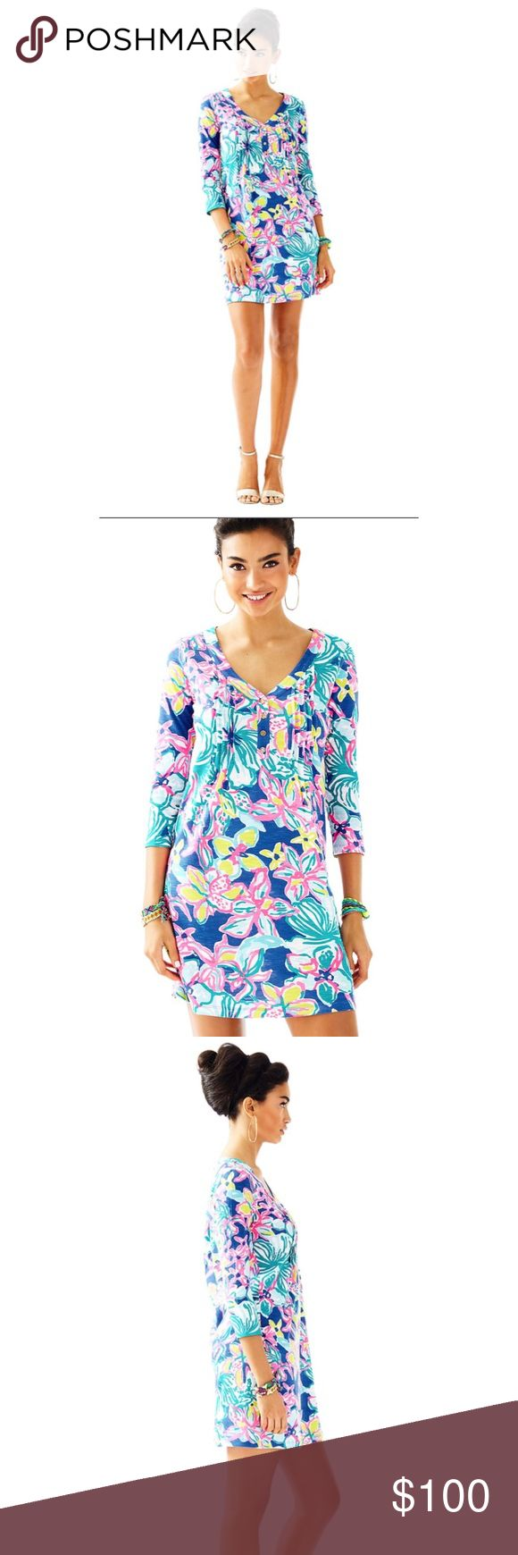 Lilly Pulitzer Amberly Dress Iris Blue Casa Azul print.  Cute and flattering Lilly dress!  I Love it but unfortunately I need a different size.   Photos above are Lilly's stock photos - mine are coming soon! Lilly Pulitzer Dresses Long Sleeve