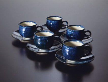 会津本郷焼 ブルー小丸コーヒーカップ(5客) 【会津本郷焼 コーヒーカップ 5客セット 和食器 陶器】